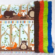 Northcott Fabric Used: Body: Into the Woods Flannel by Deborah Edwards; Band: ColorWorks Download the free ruffle pattern here: http://www.allpeoplequilt.com/millionpillowcases/freepatterns/Pillowcase-36.pdf