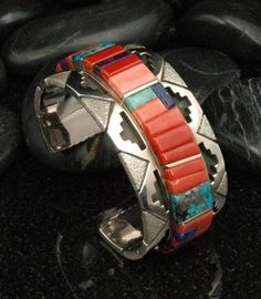 Navajo raised inlay cuff bracelet. Really nice...
