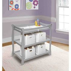 Shop for Badger Basket Sleigh Style Baby Changing Table. Get free delivery On EVERYTHING* Overstock - Your Online Baby Furniture Shop! Modern Changing Tables, Baby Changing Tables, Changing Table Topper, Baby Dresser, Baby Nursery Furniture, Nursery Room, Girl Nursery, Changing Table Dresser, Thing 1