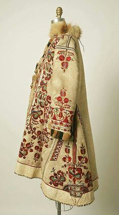 Coat Date: 1900 Culture: Romanian Medium: Leather Hungarian Embroidery, Folk Embroidery, Embroidery Ideas, Embroidery Stitches, Moda Vintage, Vintage Mode, Historical Costume, Historical Clothing, Vintage Outfits