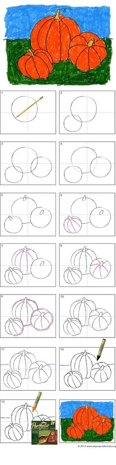 How to Draw a Pumpkin · Art Projects for Kids - - Make a pumpkin drawing that is easy but still allows for some dimension. No need to draw ones that look totally flat. Pumpkin Drawing, Pumpkin Art, Fall Art Projects, School Art Projects, Drawing For Kids, Art For Kids, Basic Drawing, Drawing Ideas, Art Children