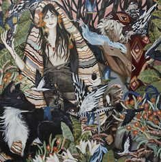 Leah Fraser, 'But she was a woman concocted of spells', acrylic on polyester canvas, 122 x 122 cm Creation Myth, Ancient Artifacts, Gods And Goddesses, Blue Bird, Home Art, Art Inspo, Mythology, Design Inspiration, Gallery