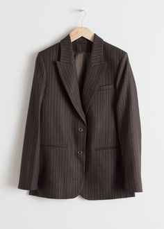 Tailored pinstripe wool blend blazer with peak lapels, welt pockets and two single button closures. Long fitFully linedLength of blazer: / (size Model wears: EU UK US 4 / Small Korean Fashion Work, Trouser Outfits, Red Design, Tailored Trousers, Fashion Story, Rib Knit, Wool Blend, Personal Style, Turtle Neck