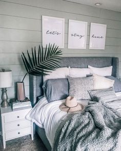"Gray, white, cozy bedroom decoration: ""Let's stay home - Home sweet home - Bedroom Decor Pretty Bedroom, Dream Bedroom, Diy Home Decor Rustic, Modern Decor, Rustic Modern, Decor Diy, Modern Luxury, Country Decor, Country Living"
