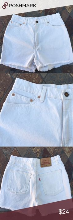 "🆕 Levi's | Cut Off Cream Colored Denim Shorts Cream colored 512 cut off denim shorts. Content is 100% Cotton. High rise zipper fly is 6"" with metal button & belt loops. Metal button & other are copper color. Measurements are flat 15.25"" waist & 3"" inseam. In excellent condition with NO spots or holes. Levi's Shorts Jean Shorts"