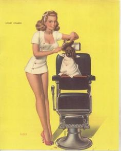 Contemporary 1950s Style Pin Up Print-Girl Grooming Dog....pretty much what I look like while grooming:p