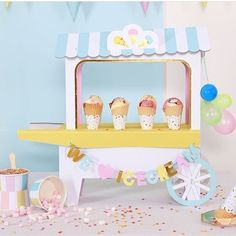 So looking forward to summer time parties and loads of ice cream  we have these cool @merimeriparty ice cream carts available on our online store!  #partyshop #partysupplies #partyideas #partysuppliesnz #poprocparties #merimeri #icecreamcart #icecreamparty #pastels #icecream
