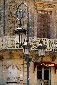 Blue lamp post in Beziers, France, one of the oldest towns in France dates to about 575 BC. Located in the Languedoc-Roussillon Region in southern France on a small bluff above the river Orb about miles from the Mediterranean. Photo by Sigfrid Lopez. Beziers France, Lantern Post, Beautiful Paris, Ville France, France Photos, Street Lamp, City Lights, Street Lights, France Travel