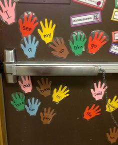 Slappin Sight Words! Write sight words on hand shapes and display on your classroom door. As the class lines up, call out a sight word for students to slap (only once) as they pass by to leave the classroom. I love it!