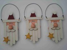 décoration de noël à faire soi-même père noël bâtons de sucette en bois