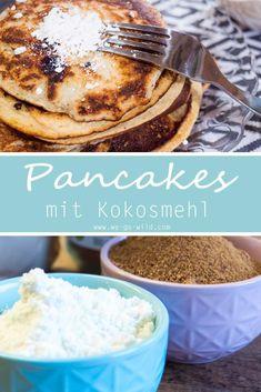 Selbst gemachte Kokosmehl Pfannkuchen und Pancakes