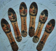 I just love these ALTERED WOOD FACE accents original altered art doll assemblage face cabs collage mixed media.