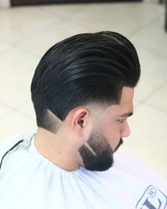 A beard fade and continuous line spice up this classic pomp fade Types Of Fade Haircut, Low Fade Haircut, Beard Line, Beard Maintenance, Hair Dressing, Haircut Designs, Male Hair, Fade Styles, Long Beards