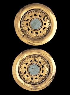 Sican culture (VIII-XIV century): Spool Earrings with Turquoise, Gold, turquoise Renaissance Jewelry, Ancient Jewelry, Antique Jewelry, Andromeda Constellation, Jewelry Art, Jewelry Design, Historical Artifacts, Gold Art, Ancient Art