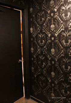 Noah Scalin has made his skeleton damask pattern available as a free stencil in .pdf form!  I dunno about walls, but I see some interesting fabric in my future...