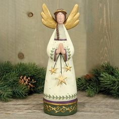 Folk Art Angel Figurine - Christmas Folk Art & Holiday Collectibles - Williraye Studio