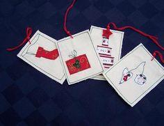 Karácsonyi varrott ajándékkísérő kártyák