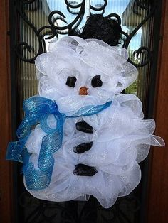 Snowman Christmas Deco Mesh Wreath