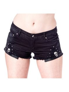 Used-look gothic style hotpants with rivets and skulls by Queen of Darkness