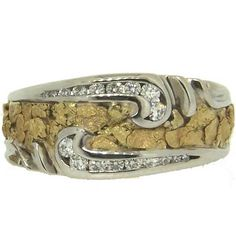 Men's Alaskan Gold Nugget and Diamond Wedding Band. Style#: GRW315WGD - Gold Nugget Jewelry by Alaskan Gold Rush Fine Jewelry - Fairbanks, Alaska - 907-456-4991 - www.goldrushfinejewelry.com