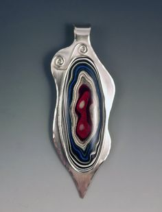 Fordite Detroit Agate Freeform Silver Pendant by RedPaw on Etsy, $149.00