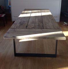 Table bois et m tal pour salle manger style campagne for L or du temps meuble industriel