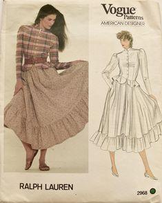 Ralph Lauren Vogue 2968 Sewing Pattern 1980s Prairie Skirt Peplum Top Button Front Shirt American Designer Original Uncut FF Size 10 by PatternPopUp on Etsy