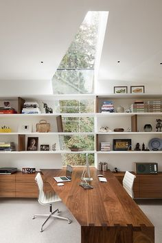 Inspirational office desk, shelving & window