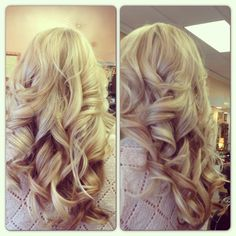 Hair by me! All over hilites with big sexy curls! An long layered cut!