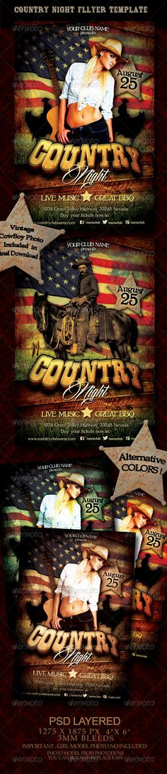 Country Night Flyer Template  #western #wild west #wood • Click here to download ! http://graphicriver.net/item/country-night-flyer-template/5290608?s_rank=592&ref=pxcr