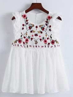 Flower Embroidery Pleated Hem Ruffle Trim Top WHITE