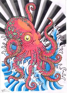 A big red octopus tattoo design, in japanese style.