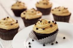 """Paleo Chocolate Cupcakes with """"Peanut Butter"""" Frosting"""