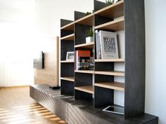 design › Gesamtkonzept MG Shelving, Modern, Bookcase, Projects To Try, Fitted Kitchens, Design, Material, Home Decor, Open Kitchen And Living Room