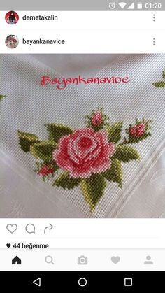 This Pin was discovered by Esi Embroidery Fashion, Ribbon Embroidery, Cross Stitch Embroidery, Cross Stitch Rose, Cross Stitch Flowers, Baby Cross Stitch Patterns, Beading Patterns, Needlework, Diy And Crafts