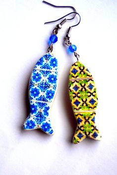 Portugal Antique AZULEJO Tile Replica SARDINE EARRINGS by Atrio,