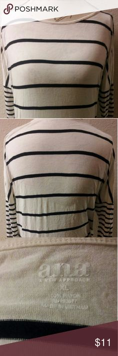 a.n.a Striped Tunic Top Striped Tunic  Across Front And On Sleeves. Black  And White In Color. You May Need To Use A Cami/Tank Top Inside It Is Made Of Thin Material. This Item Is Not From A Smoke Free Home. Thank You For Visiting My Closet. a.n.a Tops Tunics