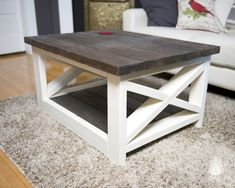 """Our original X coffee table has a charming rustic farm design that will warm any space. Made from pine and spruce, each table is sanded smooth for the perfect finish. Each table includes your choice of stain, with optional matching stain base or painted base and a clear coat finish. Specifications Extra small: 36"""" L…"""
