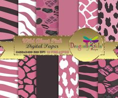 WILD About Pink ,paperpacks, commercial use, digital scrapbook papers, vector graphics, printable, Instant Download