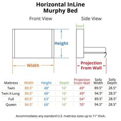 Horizontal InLine Murphy Bed Dimensions