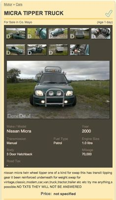 Micra Tipper Truck Ad on DoneDeal - click to see ad