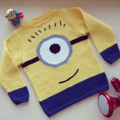 Minion sweater Preorder only by on Etsy, Jumper Patterns, Sweater Knitting Patterns, Knitting Designs, Knitting Projects, Crochet Patterns, Knitting For Kids, Free Knitting, Baby Knitting, Minion Crochet