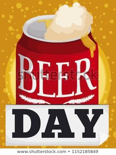 Delicious beer with a lot of froth coming out from the can, for Beer Day celebration with bubbly background. Beer Day, Coming Out, Celebration, Bubbles, Royalty Free Stock Photos, Canning, Food, Going Out, Essen