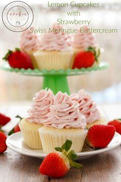 Lemon Cupcakes with Strawberry Swiss Meringue Buttercream | #cupcakes #dessert #strawberries | http://thecookiewriter.com