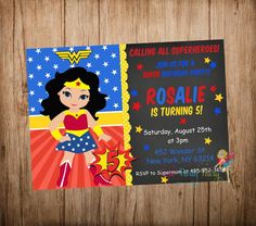 Wonder Woman Party Invitation Wonder Woman by CutePartyFairy