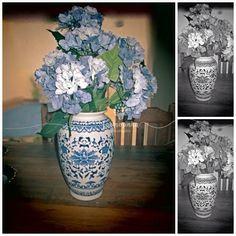 Azulejo português é TUDO DE LINDO. Ainda mais com essas hortênsias maravilhosas azuis. Azul e branco cerâmica arranjo centro mesa decoração festa jantar mesa posta