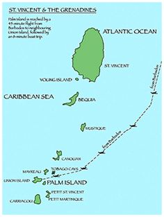 Map of St. Vincent & The Grenadines Want to #GoSailing? Comr to #LunaSeaInn.com and #Sail on the clearest waters this side of the Pacific