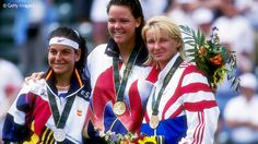 Lindsay Davenport (USA), Arantxa Sánchez Vicario (ESP), and Jana Novotná (CZE)  1996 Atlanta