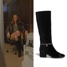 Dynasty Clothing, Madison Brown, Black High Boots, Tv Show Outfits, May 1, Silk Crepe, Robin, Heeled Boots, Chanel