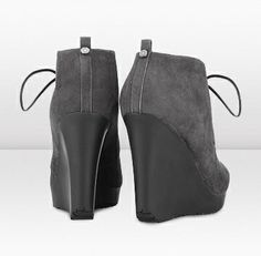 """Jimmy Choo - Baxter - 132baxterssue - Smoke Suede Wedge Ankle Boots - Contemporary and stylish; these lace up wedges are a modern take on a classic European espadrille design. Heel measures 110mm/4.3"""" with a 20mm/0.8 """" platform."""